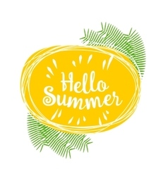 Hello summer lively hand drawn picture vector image