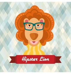Hipster lion poster vector image vector image