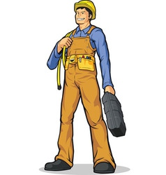Industrial construction worker with rope tool box vector