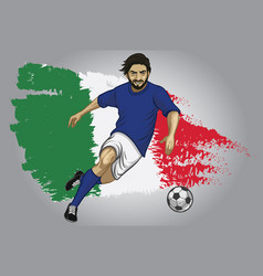 Italy soccer player with flag as a background vector