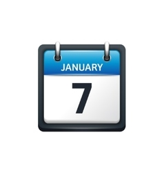 January 7 calendar icon flat vector