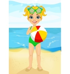 little girl holding an inflatable striped ball vector image vector image