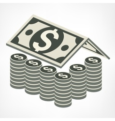 Money house in grey vector