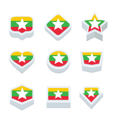 Myanmar flags icons and button set nine styles vector