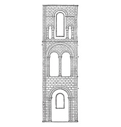 One bay of transept winchester cathedral monastic vector