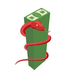 Red Snake encircles large pile of money Cobra and vector image vector image