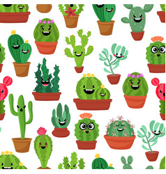 seamless pattern with cute kawaii cactus and vector image