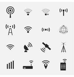 Set different black wireless and wifi icons vector image vector image