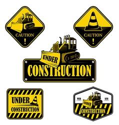 Set of under construction emblems labels vector
