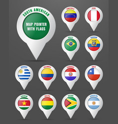 set the pointer to the map with the flag of south vector image