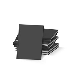 Stack of blank black books on white mockup vector