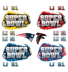 Superbowl party text and team icons vector