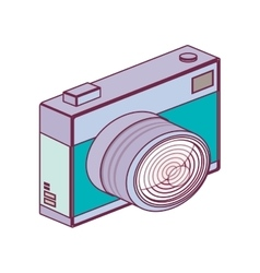 Tech digital camera with flash minimalist vector