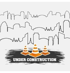 Under construction cones road with building thin vector
