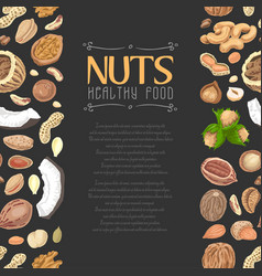Vertical seamless background with colored nuts and vector