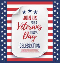 Veterans Day party celebration invitation poster vector image