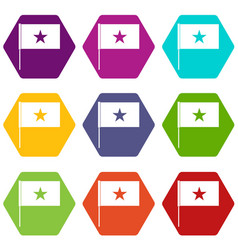 vietnam flag icon set color hexahedron vector image