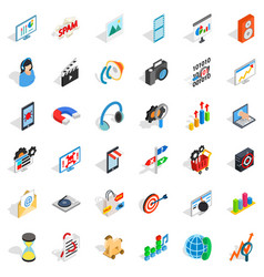 Web operation icons set isometric style vector