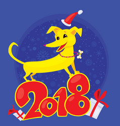 yellow dog for the new year 2018 vector image vector image