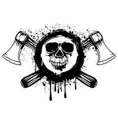 Grunge skull with axes 2 vector