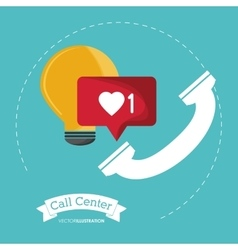 Phone bulb call center design vector