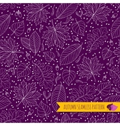 Autumn seamless pattern with seeds and leaves vector