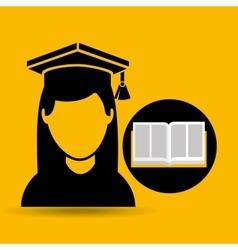 education opened book girl graduate vector image