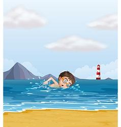 A kid swimming at the beach with a lighthouse vector