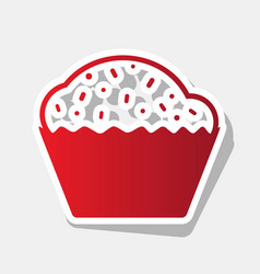cupcake sign new year reddish icon with vector image