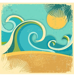 Vintage nature sea vector