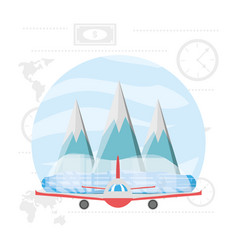 Airplane with snowy mountains with ice vector