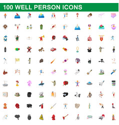 100 well person icons set cartoon style vector