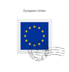 European union flag postage stamp vector