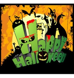 3d type of the text happy halloween vector