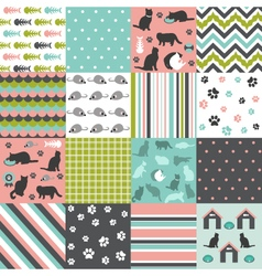 Cat scrapbooking paper set vector