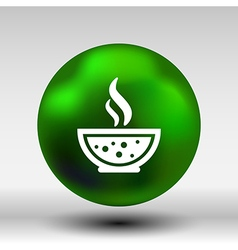 Bowl of hot soup with spoon line art icon isolated vector