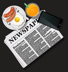 Newspaper and cellphone with juice and breakfast vector