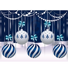 Blue and white xmas balls4 vector