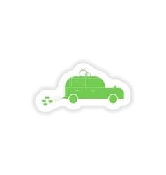 paper sticker on white background bridegroom car vector image