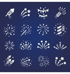 Firework white icon set with burst vector