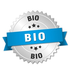 Bio 3d silver badge with blue ribbon vector