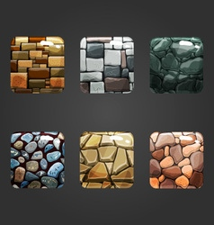 Set of shiny stone square button vector