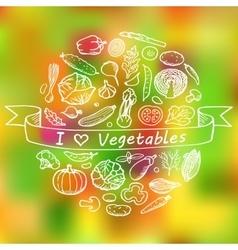 Doodle Set I love Vegetables vector image