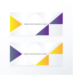 Abstract banner modern purple yellow vector