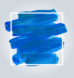 blue acrylic background with white frame vector image