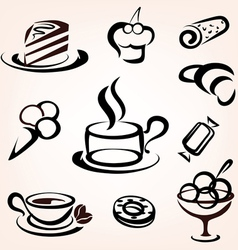 caffe bakery and other sweet pastry icons set vector image
