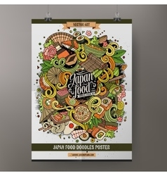 Cartoon doodles japan food poster template vector