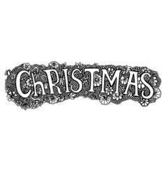 Christmas word on flowers vector