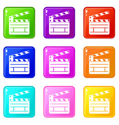 Clapperboard icons 9 set vector