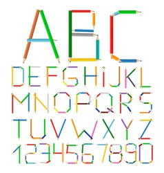 Colored pencils alphabet vector
